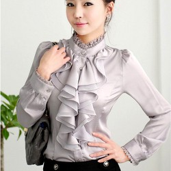 áo sơ mi dài tay cổ nơ công sở cực dễ thương cho chị em-162