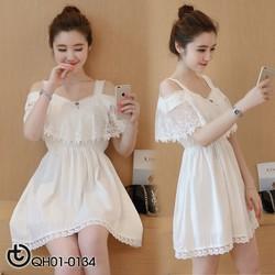 Đầm ren trắng viền răng cưa - hàng nhập Quảng Châu cao cấp