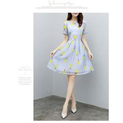 Đầm xòe họa tiết hoa tay lỡ