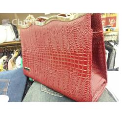 Túi xách da vân nổi màu đỏ