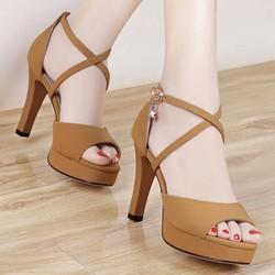 Giày cao gót hở mũi quai đan chéo nhỏ