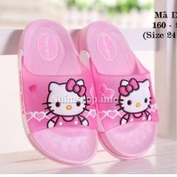 Dép lê kitty màu hồng đi nhà cho bé gái 2 - 10 tuổi D17