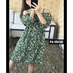 Đầm Voan Hoa Bẹt Vai