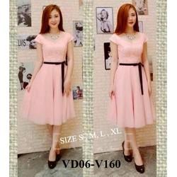 Đầm hồng phối ren cao cấp kèm dây đeo VD06