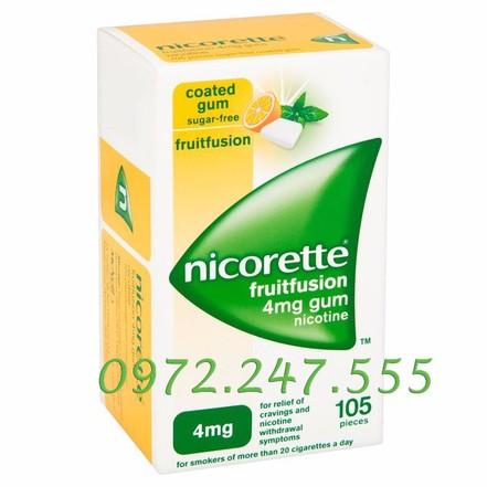 Kẹo cai thuốc lào, lá Vị trái cây Nicorette Freshfusion 4mg. 1