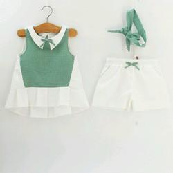 Bộ bé gái 3 chi tiết 2đế 6tuổi: Gồm áo, quần, băng đô