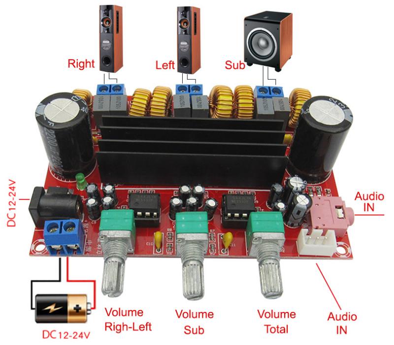 Mạch khuếch đại âm thanh classD 2.1 2x50W + 100W TPA3116D2 2