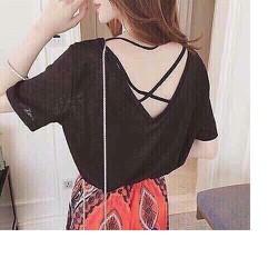 Áo thun nữ đan dây lưng màu đen cực sexy