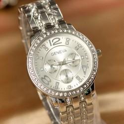 Đồng hồ nữ Geneva G9 màu Bạc Mặt To