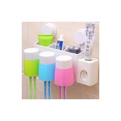 Bộ nhả kem đánh răng tự động kẹp bàn chải kèm 3 cốc hít chân không