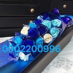 Hộp hoa hồng sáp thơm cao cấp 21 bông xanh