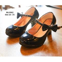 Giày cao gót màu đen cho bé gái 3 - 10 tuổi SD82