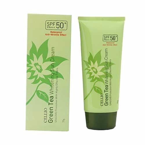 Kem chống nắng Cellio Green Tea Whitenning Sun Cream SPF50 1
