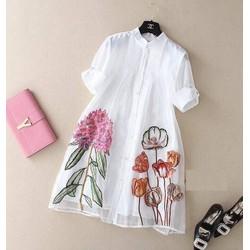 Đầm suông cổ trụ in hoa sen