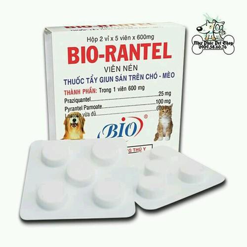 10 viên thuốc tẩy giun sán chó mèo bio rantel
