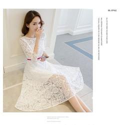 Đầm xoè ren nổi cao cấp - hàng nhập Quảng Châu