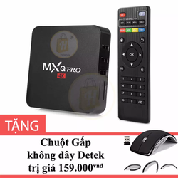 Android TV Box MXQ Pro 4K Đen Tặng Chuột Gấp không dây