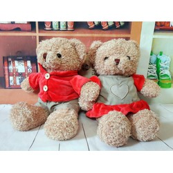 Quà tặng thú nhồi bông gấu cặp váy tim áo đỏ 40cm