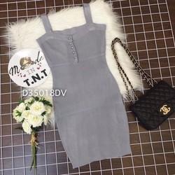 Đầm body len 2 dây hàng QC