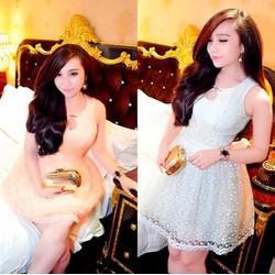 Đầm búp bê ren bông liti giống bella
