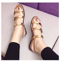 giày sandal 3 quai tag sắt vàng