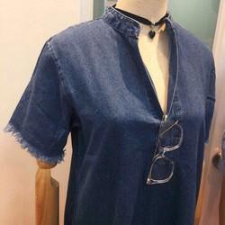 Đầm jean cổ trụ