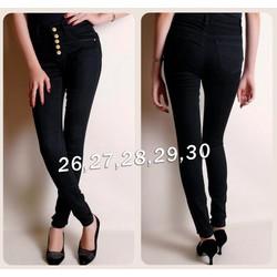Quần jean đen lưng cao 5 nút QJ208