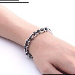 Lắc tay inox nam thời trang Hàn Quốc kiểu dây xích xe