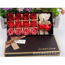 Hộp 12 bông hoa hồng nhung bằng xà bông cho ngày kỉ niệm yêu thương