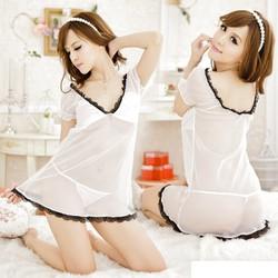 Váy ngủ thun lụa phối viền ren đen quyến rũ VN45187