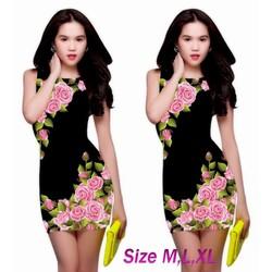 Đầm ôm body in hoa 3D giống ngọc trinh