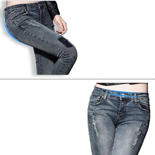 Quần jean dài vá nhỏ một bên ống xinh xắn form chuẩn siêu đẹp - 128 6