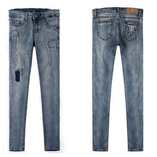 Quần jean dài vá nhỏ một bên ống xinh xắn form chuẩn siêu đẹp - 128 3
