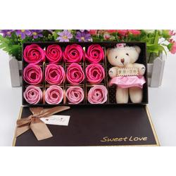 Hộp 12 bông hoa hồng màu hồng phấn bằng xà phòng cho mùa valentine