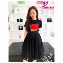 SuSu Shop - Set áo hoa hồng phối chân váy ren - SSH754