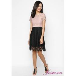 Đầm Xòe Ren Da Phối Ren Đen Cung Cấp Bởi Jessie Boutique
