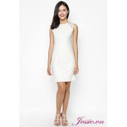 Đầm Gấm Trắng Phối Lưới Cung Cấp Bởi Jessie Boutique