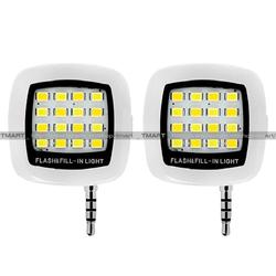 Bộ 2 đèn LED flash 16 bóng cực sáng hỗ trợ selfie màu hồng