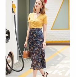 Set áo và chân váy chiffon dài họa tiết  - XY10661