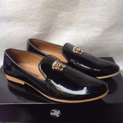 Giày tây nam Di_or da đen trơn đế cao su vàng khóa logo vàng