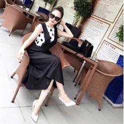 Đầm yếm xòe chấm bi VD466