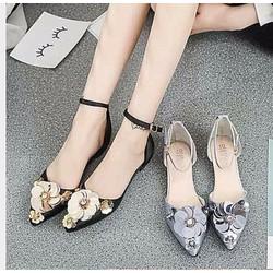 Giày búp bê hoa mũi nhọn