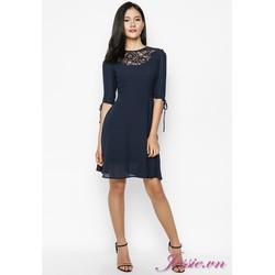 Đầm Xòe Xanh Đen Phối Ren Tay Lỡ  Jessie Boutique
