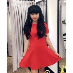 đầm xoè đỏ cherry