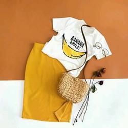 Set áo chuối váy xẻ đùi