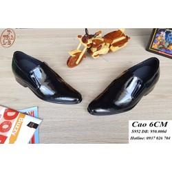 Giày tăng chiều cao nam da thật S952 đen bóng, cao 6cm