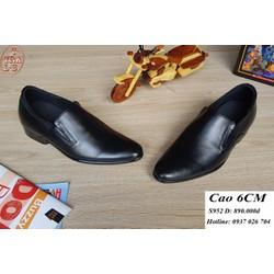 Giày tăng chiều cao nam da thật S952 đen, cao 6cm