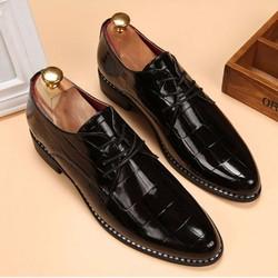 Giày công sở da cao cấp chính hãng - Giày Oxford wholecut vân cá sấu