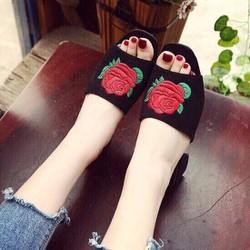 Dép cao gót nữ thêu hoa hồng - LN1193
