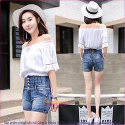 Quần short jean nữ co giãn lưng cao nhiều nút GLQ031